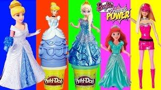 Play Doh Cinderella Movies Barbie Princess Power Disney Frozen Anna Elsa Magiclip Dough Cendrillon