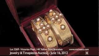 Victorian Pearl, Enamel, 14K Yellow Gold Bangle Bracelets