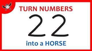 How To Turn Number 22 into Cartoon HORSE – Learn Drawing for Creative Kids ✔