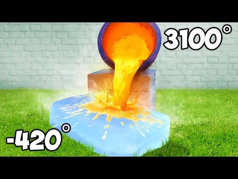 Molten Lava Vs Giant Ice Block Experiment