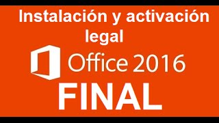 Office Professional Plus 2016 Final | Instalación y activación legal | Windows