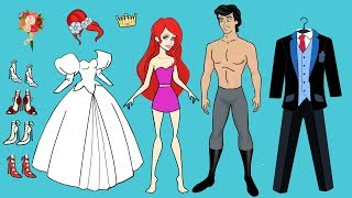 PAPER DOLL WEDDING DRESS FOR ARIEL MERMAID PAPERCRAFT HANDMADE DOLLS BRIDE & GROOM