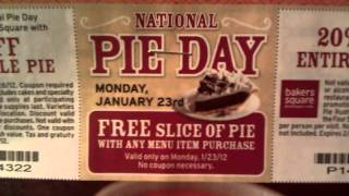FREE PIE at Bakers Square! Monday 01/23 only