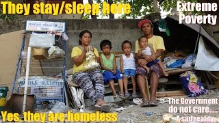 Travel to the Real Philippines: Homeless Family w/ 3 Young Kids. Poverty among Filipinos is High