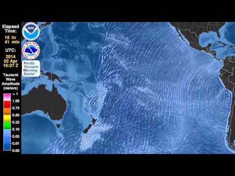 Tsunami Animation Northern Chile, 1 April 2014