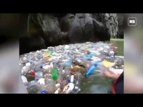 Pile of garbage seen in Secret Lagoon at Palawan
