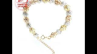 Lắc nữ hoa may mắn vàng 18k Italy, lắc nữ tinh xảo, lắc tay thời trang