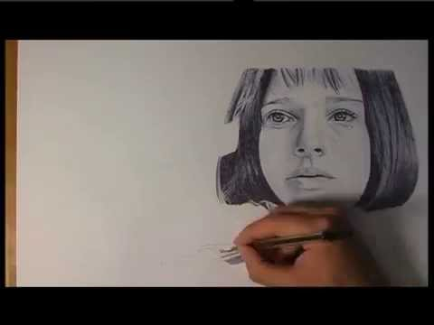 Drawing Mathilda from Léon - Natalie Portman Ballpoint Pen Portrait