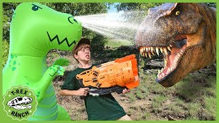 Giant T-Rex vs T-Rex Dinosaurs! Nerf Blaster Pretend Play with Dinosaur Water Toys for Kids