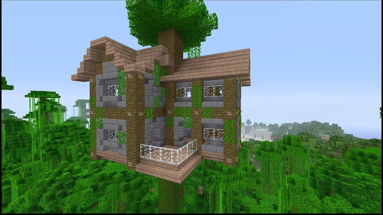 How To Build A Large Jungle Tree House In Minecraft Youtube