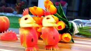 Art In Apple Penguins | Fruit Carving Garnish | Apple Art | Party Garnishing