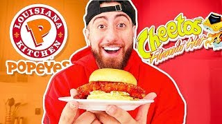 DIY Popeyes Chicken Flamin Hot Cheetos Sandwich!