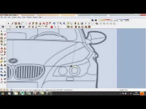 Google Sketchup tutorial : How to do a car in 3D.  part 1