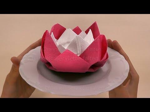 Servietten Falten Rose Lotus Blume Einfache Diy Origami Blumen