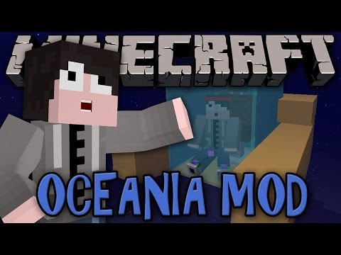 Minecraft Mod Review: OCEANIA MOD - BOATS WITH CHESTS. SUBMARINES. UNDERWATER VILLAGERS!!