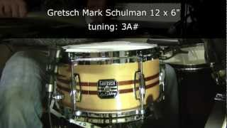 Gretsch Mark Schulman 12 x 6 snare drum tuning range