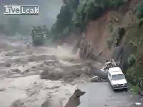 Massive flood takes away the road