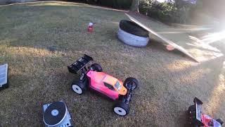 XRay XB8E RC Buggy  jumping jupiler