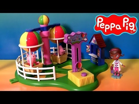 Peppa Pig Balloon Ride Theme Park With George Disney Princess Sofia the First & Doc McStuffins