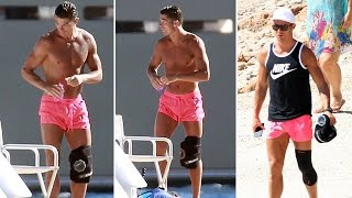 Cristiano Ronaldo wears knee brace on holiday in Ibiza