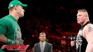 John Cena and Brock Lesnar sign the contract for their Extreme Rules Match