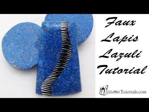 Gold Flecked Faux Lapis Lazuli Polymer Clay Tutorial