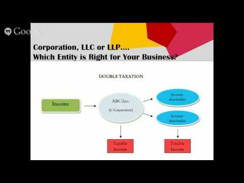 Webinar: Corporation, LLC or LLP.... Which Entity is Right f