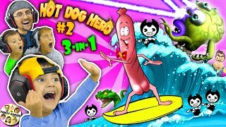 SHAWN plays HOT DOG HERO! 😆 Bendy & Hello Neighbor get Eaten!! (FGTEEV 3-in-1 Games w/ Venom)