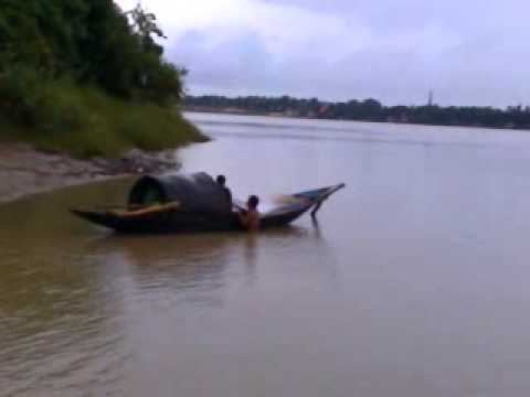 A Fish Catching Man Bathing In Ganga River video