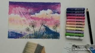 Oil pastel drawing | Cách vẽ phong cảnh bằng màu sáp dầu 07