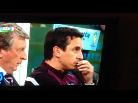 England v Italy Gary Neville sniffs his own lip juice