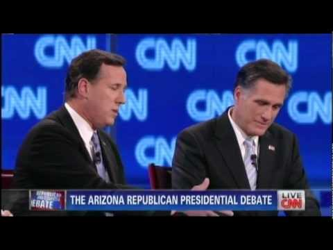 Rick Santorum Criticizes Mitt Romney Over RomneyCare, Romney Fights Back (Arizona Debate)