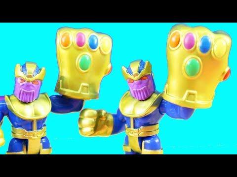 Playskool Heroes Thanos Replicates + Imaginext Batman Batbot Vs. Team Thanos