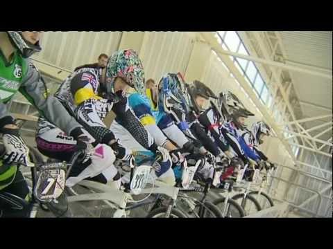 Indoor BMX Race track in Manchester England UK BBC sports news report