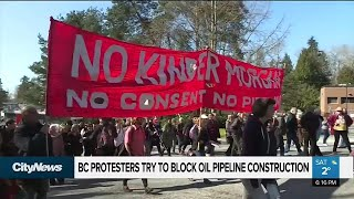 B.C. protesters try to block oil pipeline construction