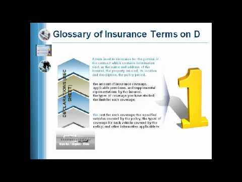 Assurance Auto Montreal .Ca Glossary of Insurance Terms - Letter D