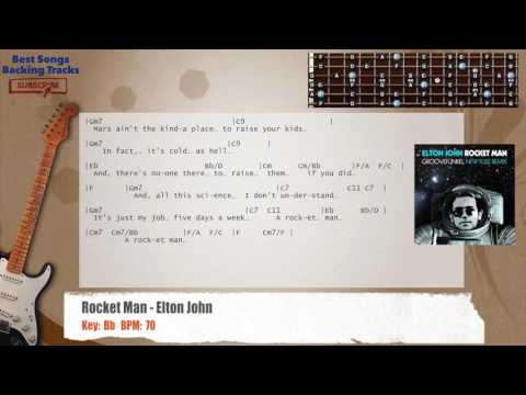 Rocket Man Elton John Guitar Backing Track With Chords And Lyrics