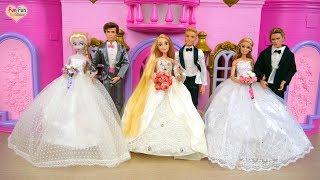 Rapunzel Elsa Barbie Wedding Shop Wedding Dress Shopping Barbie Toko pernikahan Vestido de casamento
