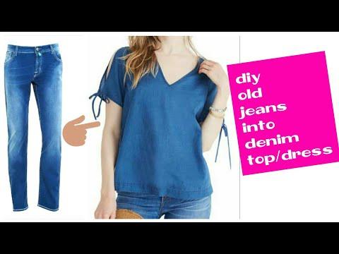 DIY : Convert jeans into Off Shoulder denim  top/Dress