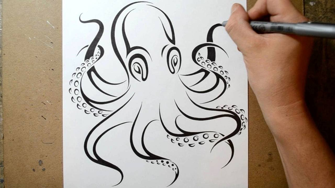 How to draw an octopus tribal tattoo design style youtube for Simple octopus drawing