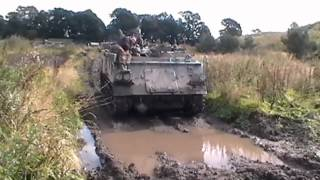 Frankie from Heartland FM Drives a tank at Tank Driving Scotland.