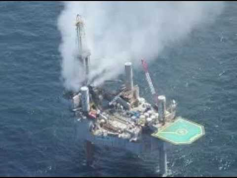 24-7-2013 NATURAL GAS DRILLING RIG BURNS IN THE GULF OF MEXICO