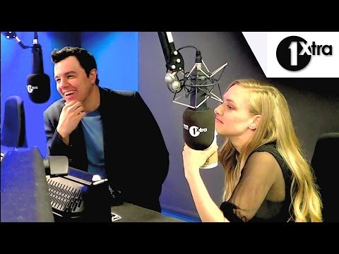 Amanda Seyfried & Seth MacFarlane react to Hugh Jackman German Whip