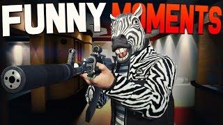 GTA 5 Funny Moments - Zebra Man, Rocket Car Stunts, Hot Dog Stand!