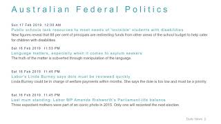 Political News Headlines for 17 Feb 2019 - 6 PM Edition