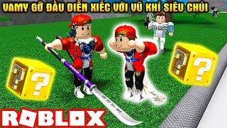 ROBLOX | Diễn Xiếc Cùng KiA Mập Với Những Vũ Khí Siêu Chúi | LUCKY BLOCK Battlegrounds | Vamy Trần