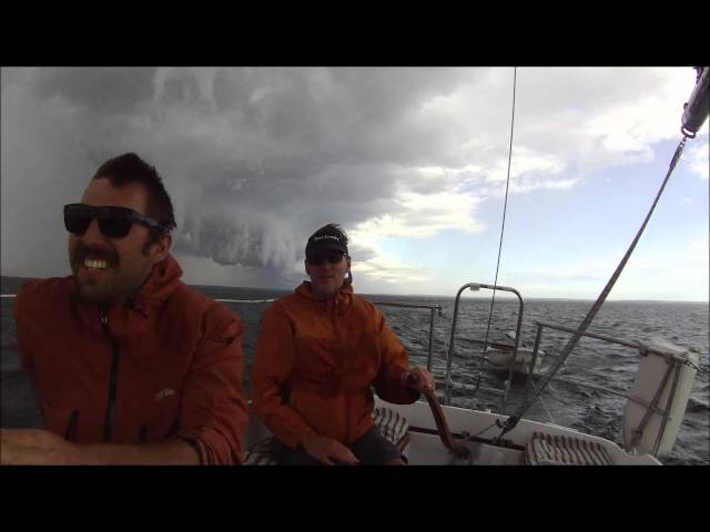SQUALL sailing thru Line Squall storm on Lake Michigan on Tartan 30 sailboat with high wind gusts