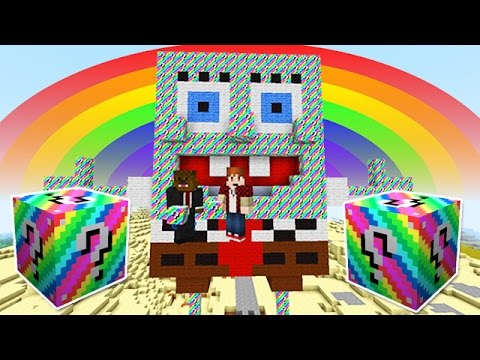 Lucky Rainbow Blocks Spongebob Bikini Bottom Mod Challenge - Minecraft Modded Mini-game! video