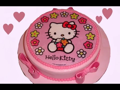 Cómo hacer una tarta de fondant con una oblea de Hello Kitty. How to make a kit