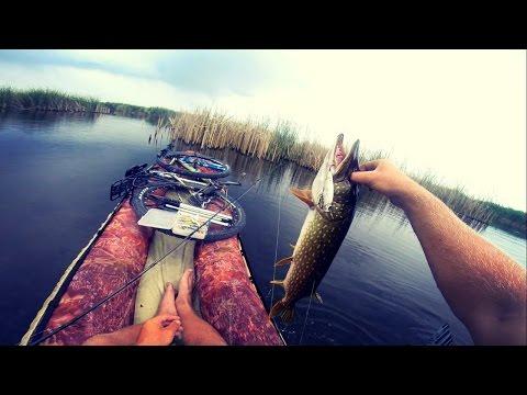 Ловля щуки на поппер и вращающуюся блесну.Ловля щуки в июне.Рыбалка на велосипеде.Pike fishing